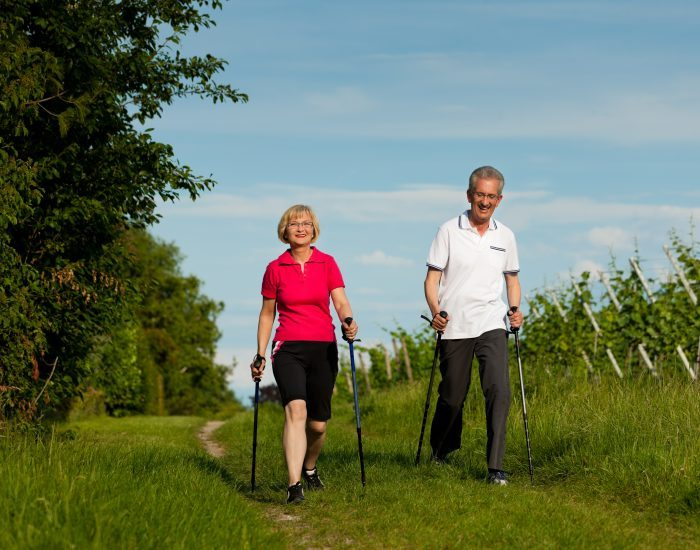 Happy mature or senior couple doing Nordic walking in summer
